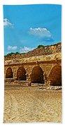 Roman Aqueduct From Mount Carmel 12 Km Away To Mediterranean Shore In Caesarea-israel  Beach Towel