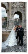 Roman Colosseum Bride And Groom Beach Towel