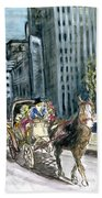 New York 5th Avenue Ride - Fine Art Beach Towel