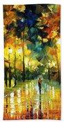 Romantic Lights - Palette Knife Oil Painting On Canvas By Leonid Afremov Beach Towel