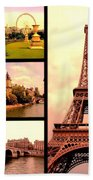 Romantic Paris Sunset Collage Beach Towel