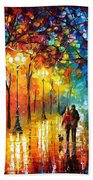 Romantic Stroll - Palette Knlfe Oil Painting On Canvas By Leonid Afremov Beach Towel