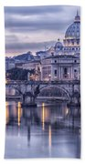Rome And The River Tiber At Dusk Beach Towel