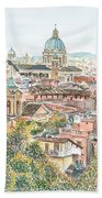 Rome Overview From The Borghese Gardens Beach Towel by Anthony Butera