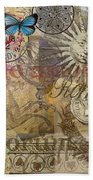 Rome Vintage Italy Travel Collage  Beach Towel