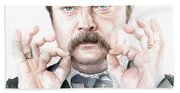 Ron Swanson Mustache Portrait Beach Towel