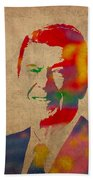 Ronald Reagan Watercolor Portrait On Worn Distressed Canvas Beach Towel