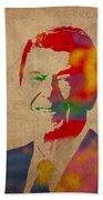 Ronald Reagan Watercolor Portrait On Worn Distressed Canvas Beach Sheet