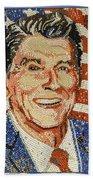 Ronald Wilson Reagan Mosaic Beach Towel