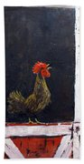 Rooster In Window Beach Towel