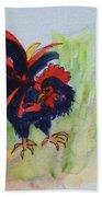 Rooster - Red And Black Rooster Beach Towel