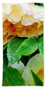 Rose And Leaves On A Rainy Day Beach Towel