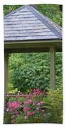 Rose Garden Gazebo Beach Towel