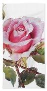 Watercolor Of Pink Rose Grace Beach Sheet