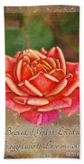 Rose Greeting Card With Verse Beach Towel