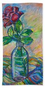 Rose In A Bottle Beach Towel