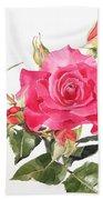 Watercolor Red Rose Margaret Beach Towel