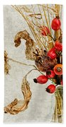 Rosehips And Grasses Beach Towel
