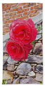 Roses Against The Wall Beach Towel