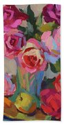 Roses And Apples Beach Towel
