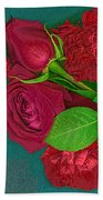 Roses And Carnations Beach Towel