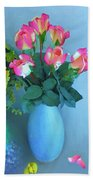 Roses And Flowers In A Vase Beach Towel