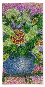 Roses And White Lilacs Lacy Bouquet Digital Painting Beach Towel