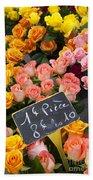 Roses At Flower Market Beach Towel