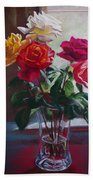 Roses By The Window Beach Towel