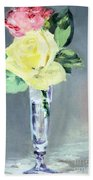 Roses In A Champagne Glass Beach Towel