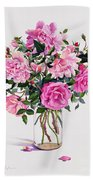 Roses In A Glass Jar  Beach Towel by Christopher Ryland