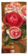 Roses In A Pot Beach Towel by Pierre Auguste Renoir