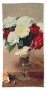 Roses In A Vase With Stem Beach Towel