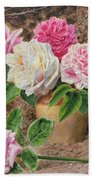 Roses In An Earthenware Vase By A Mossy Beach Towel