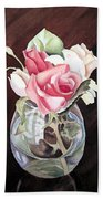 Roses In The Glass Vase Beach Towel