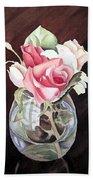 Roses In The Glass Vase Beach Sheet