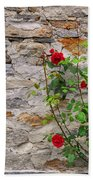 Roses On A Stone Wall Beach Towel