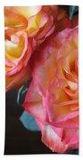 Roses On Dark Background Beach Towel