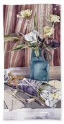 Roses Tulips And Striped Curtains Beach Towel by Julia Rowntree