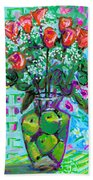 Roses With Apples Beach Towel