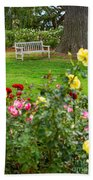Rosy View - Beautiful Rose Garden Of The Huntington Library. Beach Towel