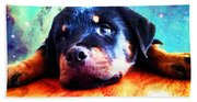 Rottie Puppy By Sharon Cummings Beach Towel