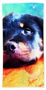 Rottie Puppy By Sharon Cummings Beach Towel by Sharon Cummings