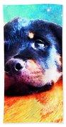 Rottie Puppy By Sharon Cummings Beach Sheet