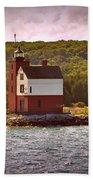 Round Island Lighthouse Beach Towel