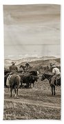 Rounding Up Cattle In Cornville Arizona Sepia Beach Towel