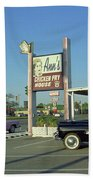 Route 66 - Anns Chicken Fry House Beach Towel by Frank Romeo