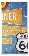 Route 66 Diner Beach Towel by Linda Woods
