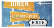 Route 66 Diner Beach Towel