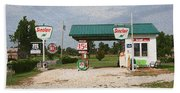 Route 66 Gas Station With Sponge Painting Effect Beach Towel